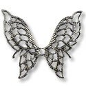 Connector - Filigree Butterfly 32x38mm Silver Plated (1-Pc)