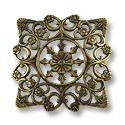 Connector - Filigree Square 28mm Antique Brass Plated (1-Pc)