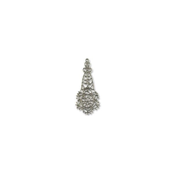 Connector - Filigree Drop 45x19mm Silver Plated (1-Pc)