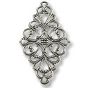 Connector - Filigree Diamond 45x25mm Silver Plated (1-Pc)