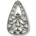 Connector - Filigree Drop 34x21mm Silver Plated (1-Pc)