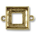 Square Ring Setting 2-Loop 14mm Pewter Antique Gold Plated (1-Pc)