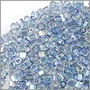 Miyuki Delica Seed Bead Hex Cut 11/0 Transparent Glazed Light Blue AB (3 Gram Tube)