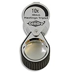 Hastings Eye Loupe by GemOro w/Rubber Grip 10X Chrome