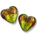 Lampwork Glass Foil Lined Heart Lime/Copper 18mm (1-Pc)