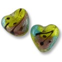Lampwork Glass Foil Lined Heart Lime/Purple/Blue 15mm (1-Pc)