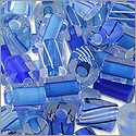 Cane Glass Beads - Blue Mix (Ounce)