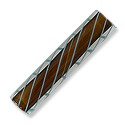"Cane Glass Bead 2"" Brown with Aqua Stripes (1-Pc)"