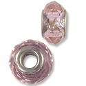 Large Hole Glass Bead 14x8mm Transparent Pink (1-Pc)