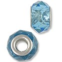 Large Hole Glass Bead 14x8mm Transparent Light Blue (1-Pc)