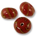 Roundel Lampwork Bead 9x14mm Red with Tan Stripes (6-Pcs)