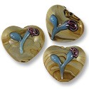 Puffy Heart Lampwork Bead 19x22mm Tan with Blue Flower (1-Pc)