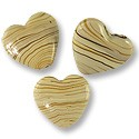 Flat Heart Lampwork Bead 25mm Tan with Brown Stripes (1-Pc)