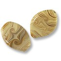 Flat Oval Lampwork Bead 17x25mm Tan with Brown Swirls (1-Pc)