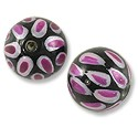 Hand Painted Glass Bead Round 12mm Pink (2-Pcs)
