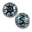 Hand Painted Glass Bead Round 12mm Turquoise (2-Pcs)