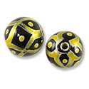 Hand Painted Glass Bead Round 12mm Yellow (2-Pcs)