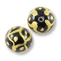 Hand Painted Glass Bead Round 12mm Gold (2-Pcs)
