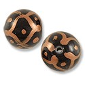 Hand Painted Glass Bead Round 12mm Copper (2-Pcs)