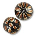 Hand Painted Glass Bead Round 12mm Brown (2-Pcs)