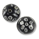 Hand Painted Glass Bead Round 12mm Black/White (2-Pcs)