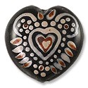 Hand Painted Glass Bead Heart 20mm Brown (1-Pc)