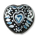 Hand Painted Glass Bead Heart 20mm Turquoise (1-Pc)