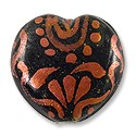 Hand Painted Glass Bead Heart 20mm Copper (1-Pc)