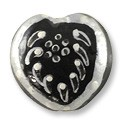 Hand Painted Glass Heart Bead 20mm Black and White (1-Pc)