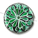 Hand Painted Glass Bead Flat Round 22mm Green (1-Pc)