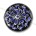 Hand Painted Glass Bead Flat Round 22mm Blue (1-Pc)