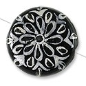 Hand Painted Glass Bead Flat Round 22mm Black and White (1-Pc)
