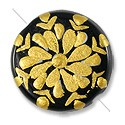 Hand Painted Glass Bead Flat Round 22mm Gold (1-Pc)