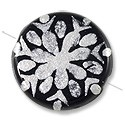 Hand Painted Glass Bead Flat Round 22mm Silver (1-Pc)