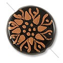 Hand Painted Glass Bead Flat Round 22mm Copper (1-Pc)
