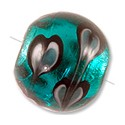Lampwork Glass Bead Round 14mm Teal (1-Pc)
