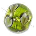 Lampwork Glass Bead Round Silver Foil with Hearts 14mm Peridot (1-Pc)
