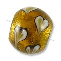 Lampwork Glass Bead Round Silver Foil with Hearts 14mm Gold (1-Pc)