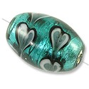 Lampwork Glass Bead Oval 18x12mm Teal (1-Pc)