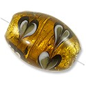 Lampwork Glass Bead Oval 18x12mm Gold (1-Pc)