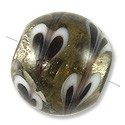 Lampwork Glass Bead Round Silver Foil with Hearts 14mm Pewter (1-Pc)