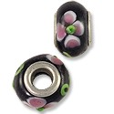 Lampwork Glass Bead Large Hole 13x8mm Black/Pink/Green (1-Pc)
