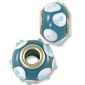 Lampwork Glass Bead Large Hole 13x8mm Teal Green/White Dots (1-Pc)
