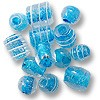 Color Lined Glass Bead Mix Turquoise 10-15mm (100 Grams)