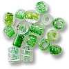 Color Lined Glass Bead Mix Green 10-15mm (100 Grams)