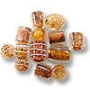 Color Lined Glass Bead Mix Brown 10-15mm (100 Grams)