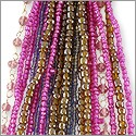 Glass Bead Strands Mixed Pink/Brown (1-Pc)