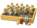 20 Glass Bead Bottles w/Tray