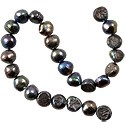 Freshwater Potato Pearl Nugget Peacock Black 7-8mm (16