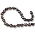 "Freshwater Potato Pearl Bumpy Nuggets Peacock Black 5-6mm (16"" Strand)"